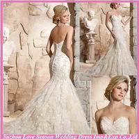 WL0011 Strapless sleeveless irish lace appliqued layers organza mermaid train 2015 new style wedding dress wedding fashion dress