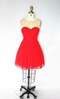 leeveless front and back yoke, hand beading, bra cup,shir formal dress
