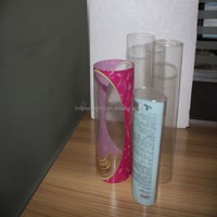 Customized clear plastic cylindrical container for retail