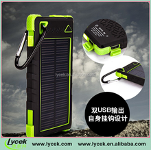 OEM 5000 / 8000mah Portable Solar Power Bank with hook