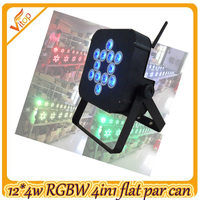 Led 12*4W RGBW 4-in-1 flat par light; wirelss&battery led power cans