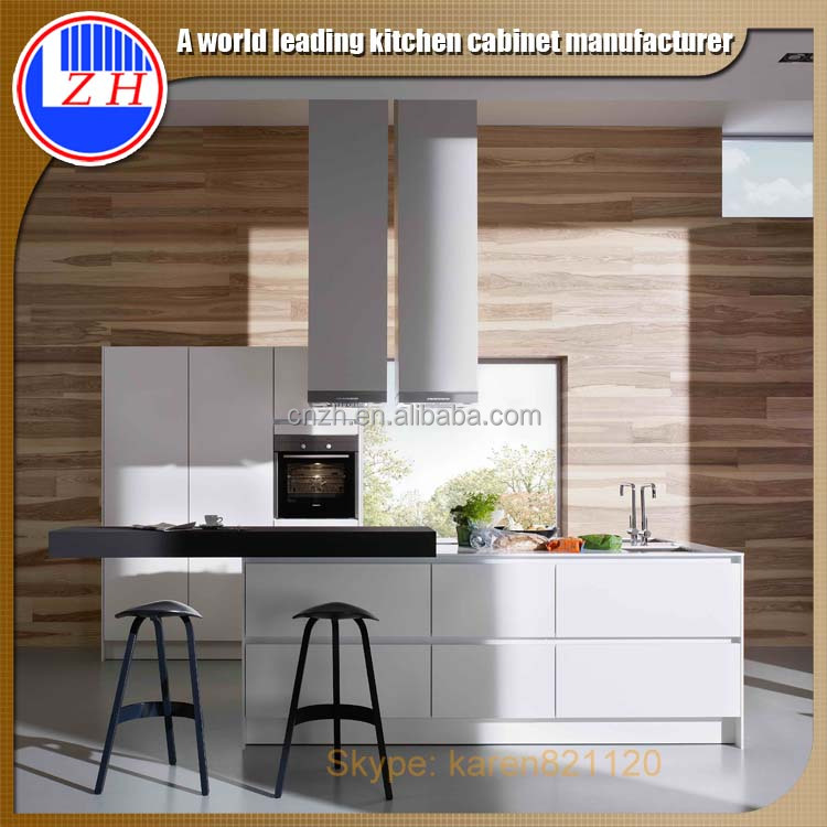 High Gloss Laminate Cabinet Doors: Painted High Gloss Gray Lacquer Finish Kitchen Cabinet And