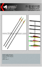 wholesale bow and arrow Fiberglass arrow with glued-in target point for hunting 3 plastic vane Weight 33g+/-0.2g