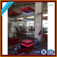 Nice swing glass door tempered glass display cabinet in shop