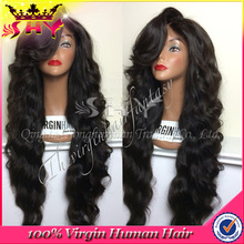 Wholesale Natural Color Human Hair Full Lace Silicone Wigs with baby hair