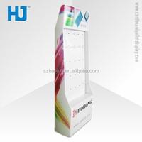 Advertising Cardboard Floor Display, Cardboard Display Racks, Paper Material Plastic Hooks display for Cell Phone Accessories