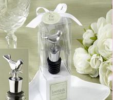 Love bird chrome wine bottle stopper Wedding bridal shower party favor guest gift for men