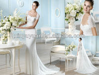 SPT-517 Elegant Cap-Sleeve keyhole back Chiffon lace wedding dressSPT-517 bridal wedding gown 2013