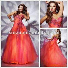 Sweethear Neckline Applique Ruffled Bodice Floor Length Peacock Prom Dresses 2012