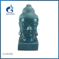 Blue color porcelain wholesale buy mini ceramic buddha head statue
