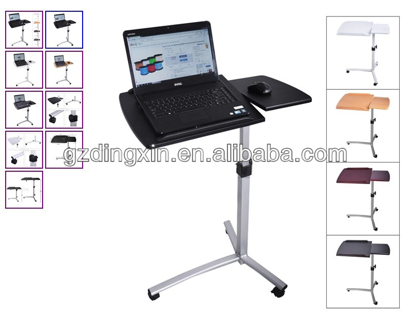 Angle Height Adjustable Rolling Laptop Desk Over Bed Hospital Table