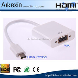 Factory Wholesale USB 3.1 Type C to VGA Female cable adapter 1080p HDTV Adapter Cable For Mackbook usb cable made in China