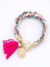 Sya fabric weaved with metal chain tassel charms bracelet