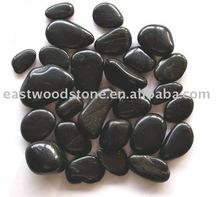 black polished river rock