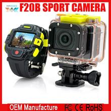 wifi Sport Camera F20B Full HD 1080P Ambarella A7 60fps 30M Waterproof 16MP Action Camera 2.4GHz RF Waterproof Watch Remote