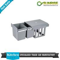 design stainless steel open top structure kitchen cabinet dustbin