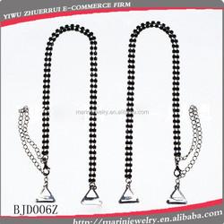 Black Double Strand Set round brilliant crystals Interchangeable bra strapsBJD006Z