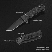 Survival Knife with Window Breaker & Belt Cutter