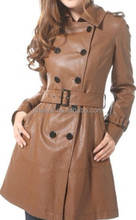 lady fashion winter trench coat,new design PU jacket for woman,women fashion garment