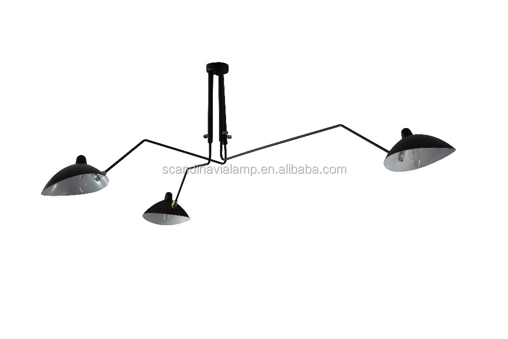 serge mouille pendant light three arm carbon steel ceiling light. Black Bedroom Furniture Sets. Home Design Ideas
