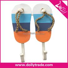 Fashionable beach Shoes shape decorative wood wall hook, creative clothes hook