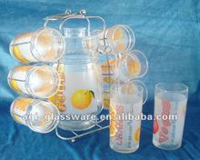 China factory 7pcs glass water jug set/ with decal and spray color