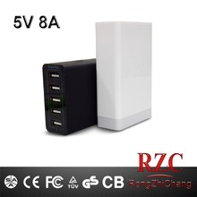 hot selling 5v8a portable usb mobile phone charger