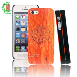 Design Phone Case / Wood Case for Iphone with Engraved Evil Skeleton