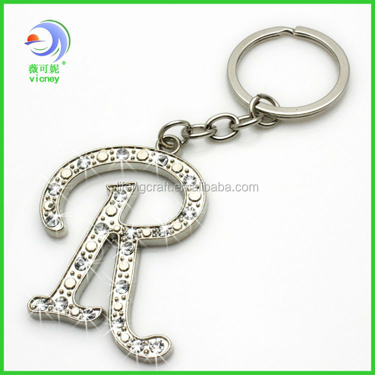Beautiful Bling Diamond Alphabet Letter R Keychains