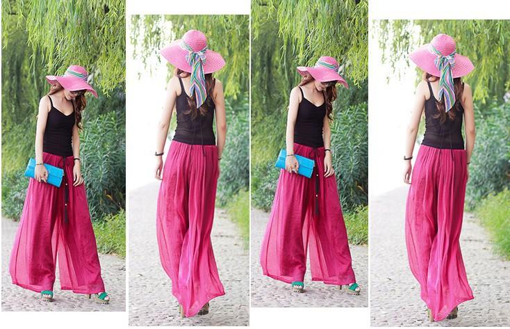 Дешевые Одежда Китай брюки широкие брюки в шифон полная длина брюки свободные стиле для отдыха на пляже с пояса лето tzc280