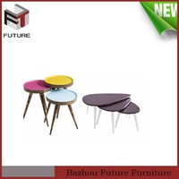 colorful round painting solid wood Mini side table for children
