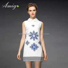 sexy indian spring autumn sexy one-shoulder leopard-print beaded lady dress wholesale female clothing