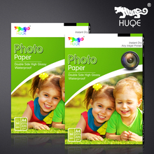 Hot selling HUQE 50 sheets double side high glossy waterproof 220gsm A4 inkjet photo paper