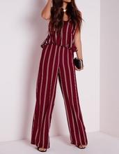 Custom Design Ladies Striped Wide Leg Trousers Latest Design Ladies Trousers