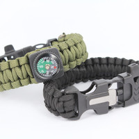 new fashion military braided compass survival paracord bracelet with fire starter buckle