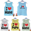 2015 Newest Cute I love mama I love papa 100% cotton Children Tees infant vest kids t-shirt