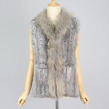 QC2293 genuine rabbit fur knit vest/gilet for women with raccoon fur collar