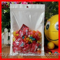 16cm*24cm*160mic High Quality Clear+White Candy Bags Food Packaging Pouches Clear Plastic Zip Lock Bags