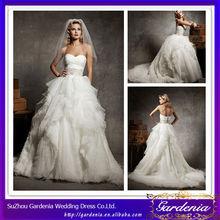 blanco de alta calidad elegante vestido de fiesta novia real volante vestidos de novia para mujeres gordas barrido tren( ab0088)