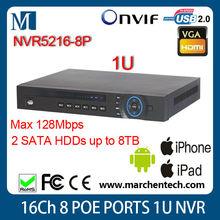 16 channel NVR NVR5216-8P 1U 8PoE Network Video Recorder