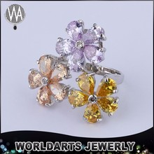 Three Flowers Champagne Fashion Artificial Jewellery, Color Zircon Imitation Jewellery