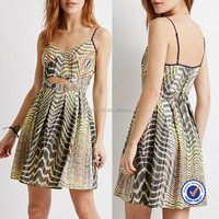 clothing factories in china abstract print spaghetti straps cut out at front hot miami style dresses