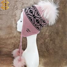 Moda Bobble sombrero barato mapache pompones de piel sombreros de punto