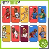 NBA Basketball Stars Cartoon Design Printing TPU PC case for iPhone 6 i pHone 5 Kobe Bryant Air Jordan James