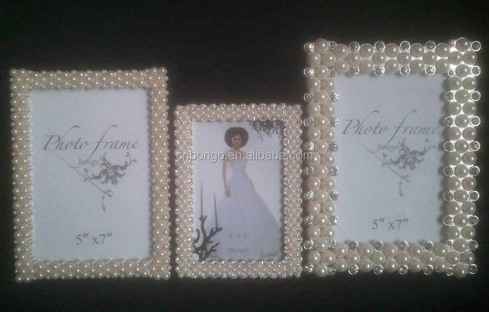 Big Size Rhinestones Pearl Beaded Metal Alloy Picture Frame - Buy ...