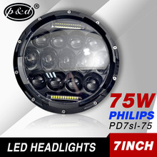 7inch round 75w with daytime running light philip s led spotlights for trucks