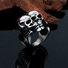 Vintage stainless steel double skull head rings for men