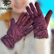 Ladies fashion nylon sexy gloves with wool lining