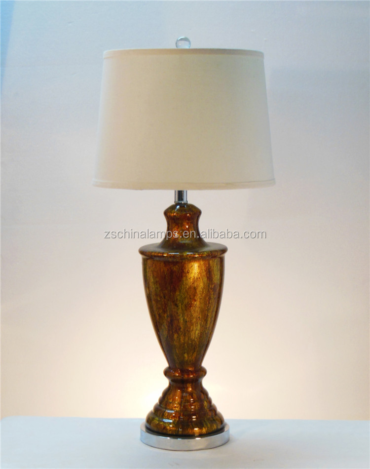 metal base antique glass table lamp with white fabric. Black Bedroom Furniture Sets. Home Design Ideas