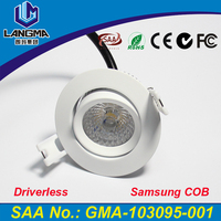 Langma AC220-240V 6W Led dimmable warm white COB downlight Silver/white housing adjustable downlight